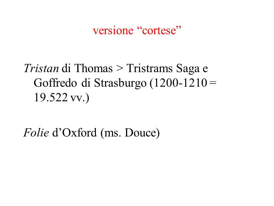 versione cortese Tristan di Thomas > Tristrams Saga e Goffredo di Strasburgo (1200-1210 = 19.522 vv.) Folie dOxford (ms. Douce)