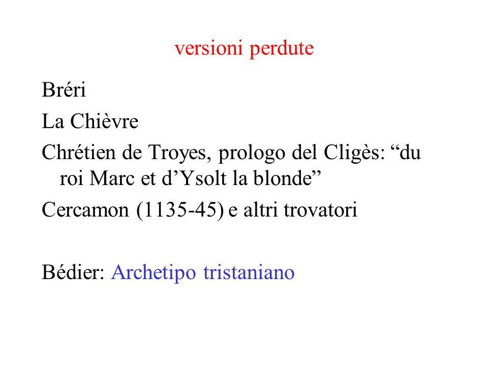 versioni perdute Bréri La Chièvre Chrétien de Troyes, prologo del Cligès: du roi Marc et dYsolt la blonde Cercamon (1135-45) e altri trovatori Bédier: