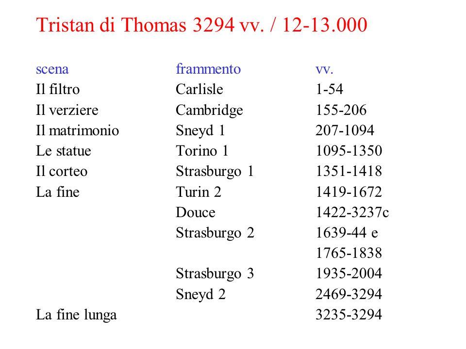 Tristan di Thomas 3294 vv. / 12-13.000 scenaframmentovv. Il filtroCarlisle1-54 Il verziereCambridge155-206 Il matrimonioSneyd 1207-1094 Le statueTorin