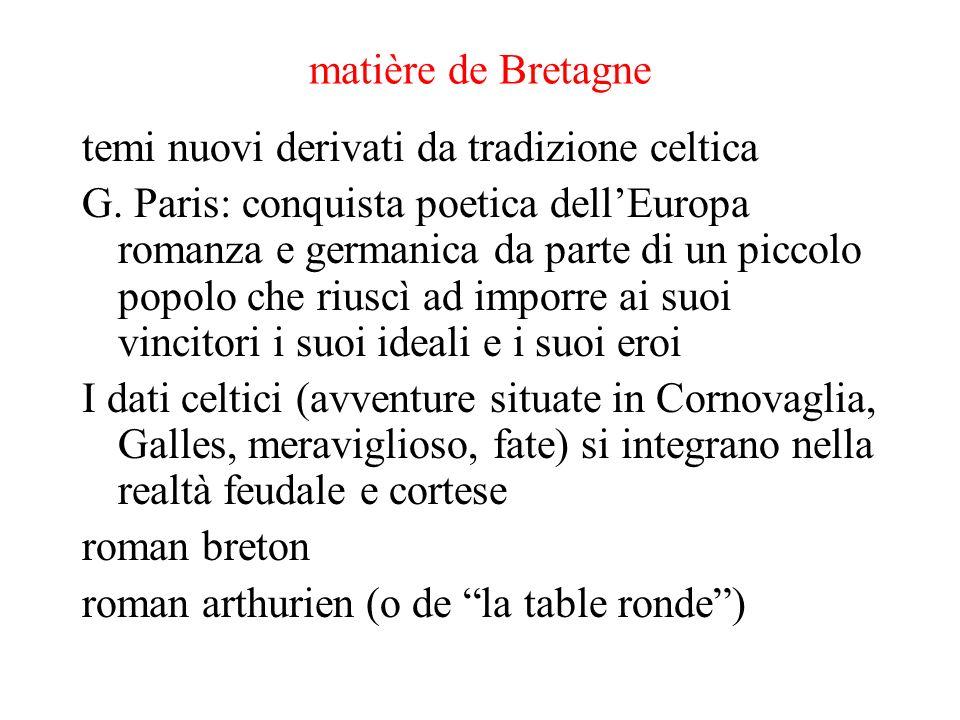 matière de Bretagne temi nuovi derivati da tradizione celtica G. Paris: conquista poetica dellEuropa romanza e germanica da parte di un piccolo popolo