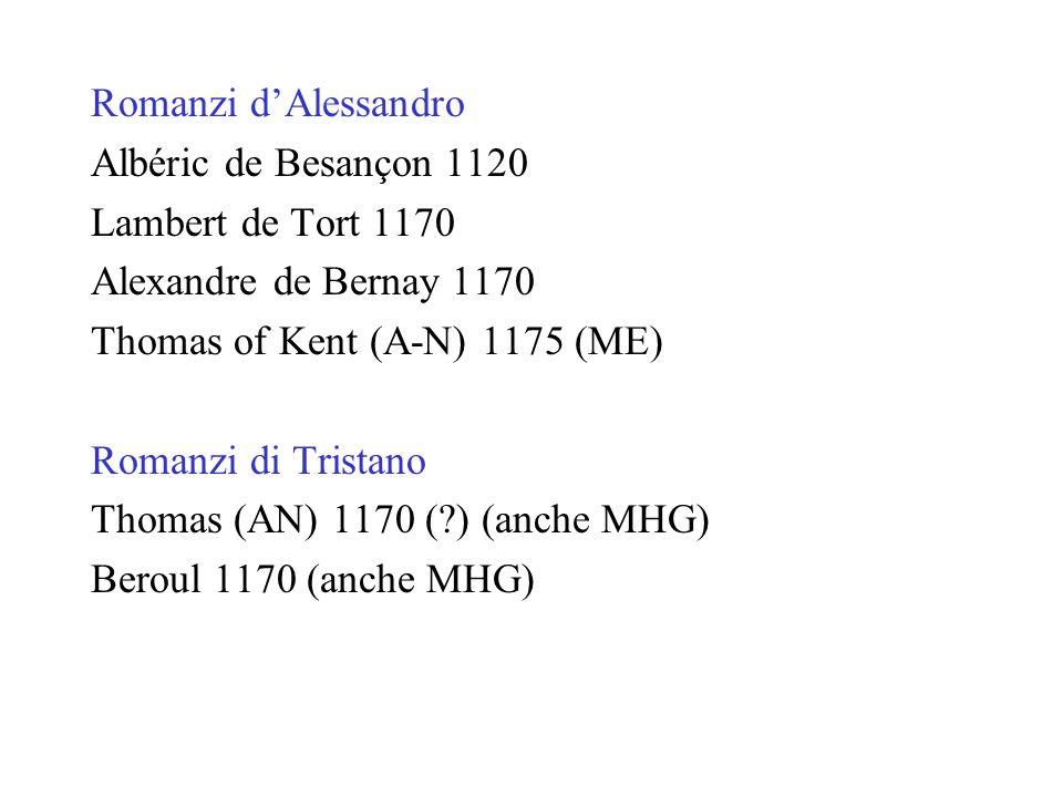 Romanzi dAlessandro Albéric de Besançon 1120 Lambert de Tort 1170 Alexandre de Bernay 1170 Thomas of Kent (A-N) 1175 (ME) Romanzi di Tristano Thomas (