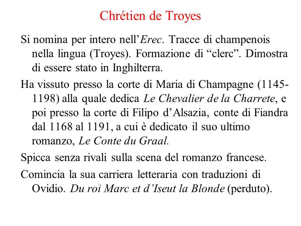 Chrétien de Troyes Si nomina per intero nellErec. Tracce di champenois nella lingua (Troyes). Formazione di clerc. Dimostra di essere stato in Inghilt