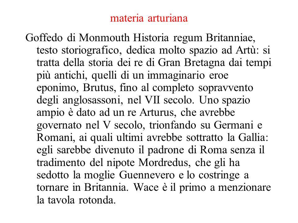 materia arturiana Goffedo di Monmouth Historia regum Britanniae, testo storiografico, dedica molto spazio ad Artù: si tratta della storia dei re di Gr