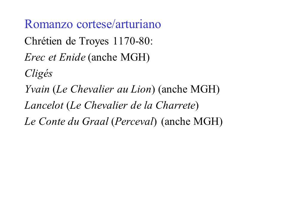 Romanzo cortese/arturiano Chrétien de Troyes 1170-80: Erec et Enide (anche MGH) Cligés Yvain (Le Chevalier au Lion) (anche MGH) Lancelot (Le Chevalier