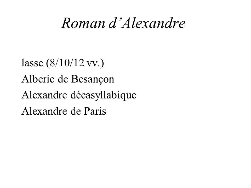 Roman dAlexandre lasse (8/10/12 vv.) Alberic de Besançon Alexandre décasyllabique Alexandre de Paris