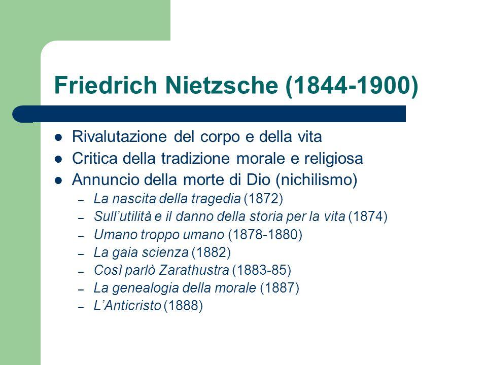 Friedrich Nietzsche (1844-1900) Rivalutazione del corpo e della vita Critica della tradizione morale e religiosa Annuncio della morte di Dio (nichilis
