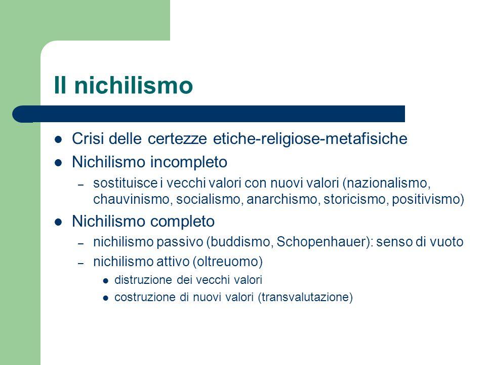 Il nichilismo Crisi delle certezze etiche-religiose-metafisiche Nichilismo incompleto – sostituisce i vecchi valori con nuovi valori (nazionalismo, ch