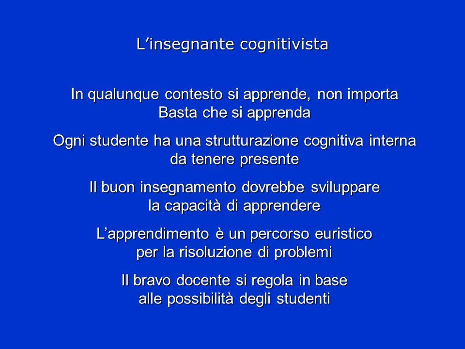 Linsegnante cognitivista In qualunque contesto si apprende, non importa Basta che si apprenda Ogni studente ha una strutturazione cognitiva interna da
