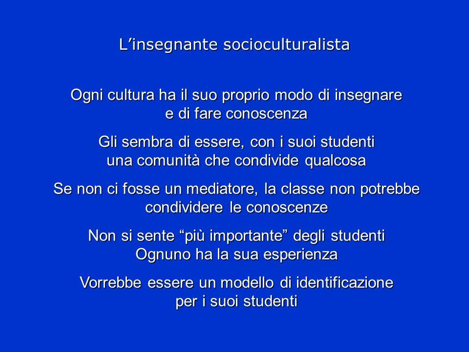 Linsegnante socioculturalista Ogni cultura ha il suo proprio modo di insegnare e di fare conoscenza Gli sembra di essere, con i suoi studenti una comu