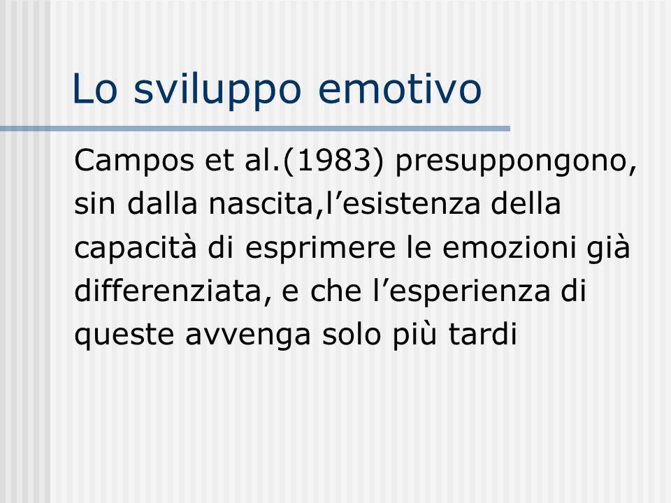 Lo sviluppo emotivo Campos et al.(1983) presuppongono, sin dalla nascita,lesistenza della capacità di esprimere le emozioni già differenziata, e che l