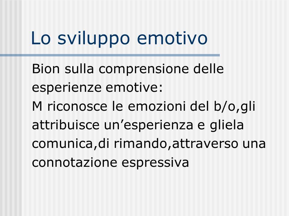 Lo sviluppo emotivo Bion sulla comprensione delle esperienze emotive: M riconosce le emozioni del b/o,gli attribuisce unesperienza e gliela comunica,d