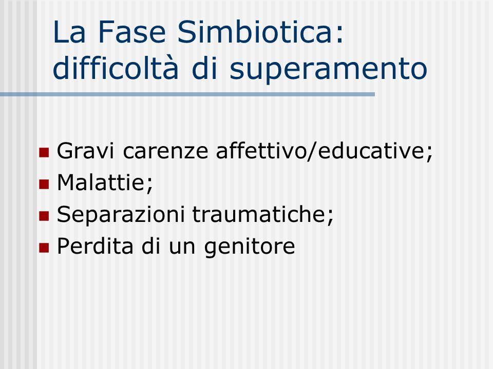 La Fase Simbiotica: difficoltà di superamento Gravi carenze affettivo/educative; Malattie; Separazioni traumatiche; Perdita di un genitore