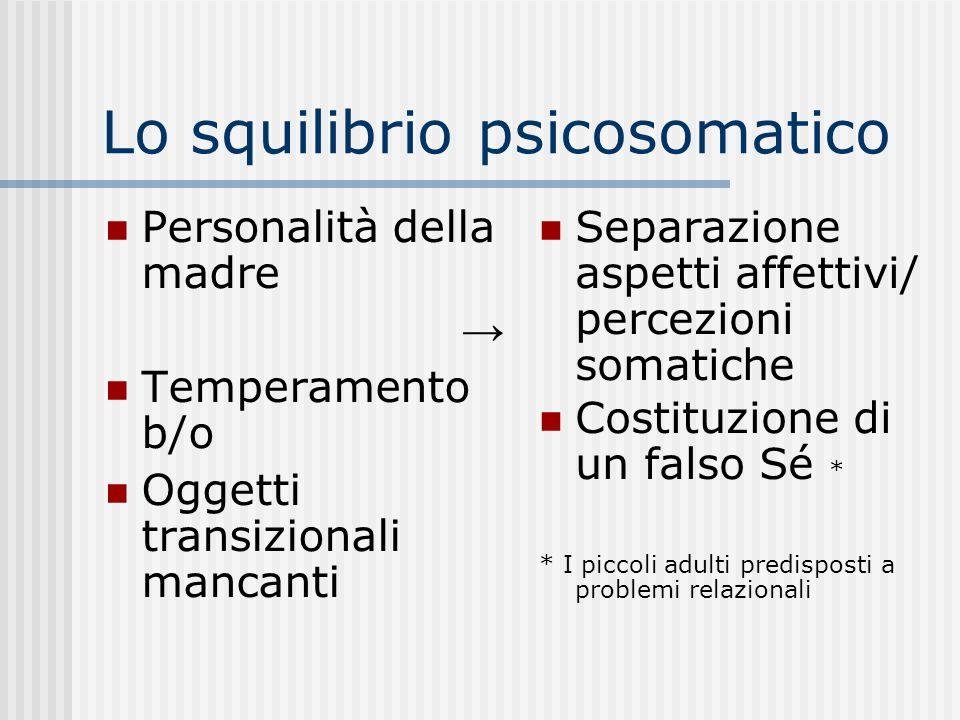 Lo squilibrio psicosomatico Personalità della madre Temperamento b/o Oggetti transizionali mancanti Separazione aspetti affettivi/ percezioni somatich