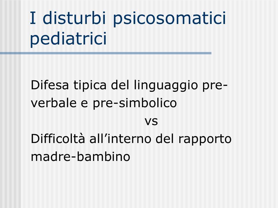 I disturbi psicosomatici pediatrici Difesa tipica del linguaggio pre- verbale e pre-simbolico vs Difficoltà allinterno del rapporto madre-bambino