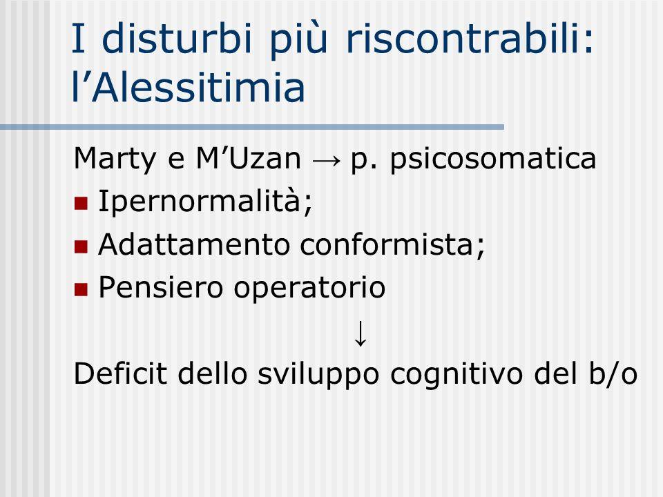 I disturbi più riscontrabili: lAlessitimia Marty e MUzan p. psicosomatica Ipernormalità; Adattamento conformista; Pensiero operatorio Deficit dello sv