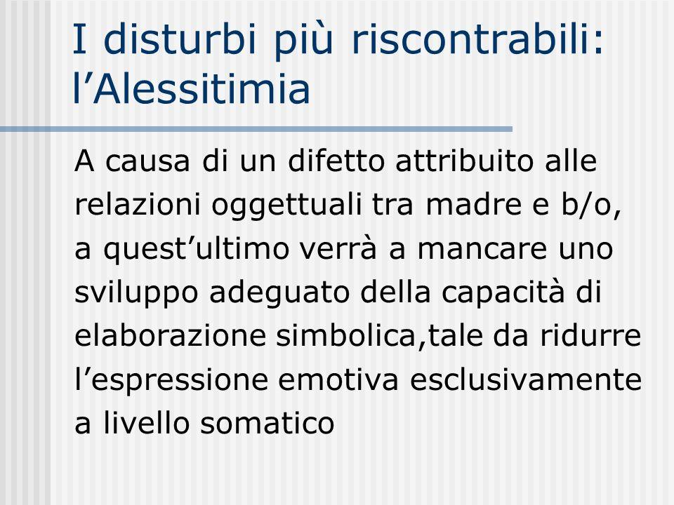 I disturbi più riscontrabili: lAlessitimia A causa di un difetto attribuito alle relazioni oggettuali tra madre e b/o, a questultimo verrà a mancare u