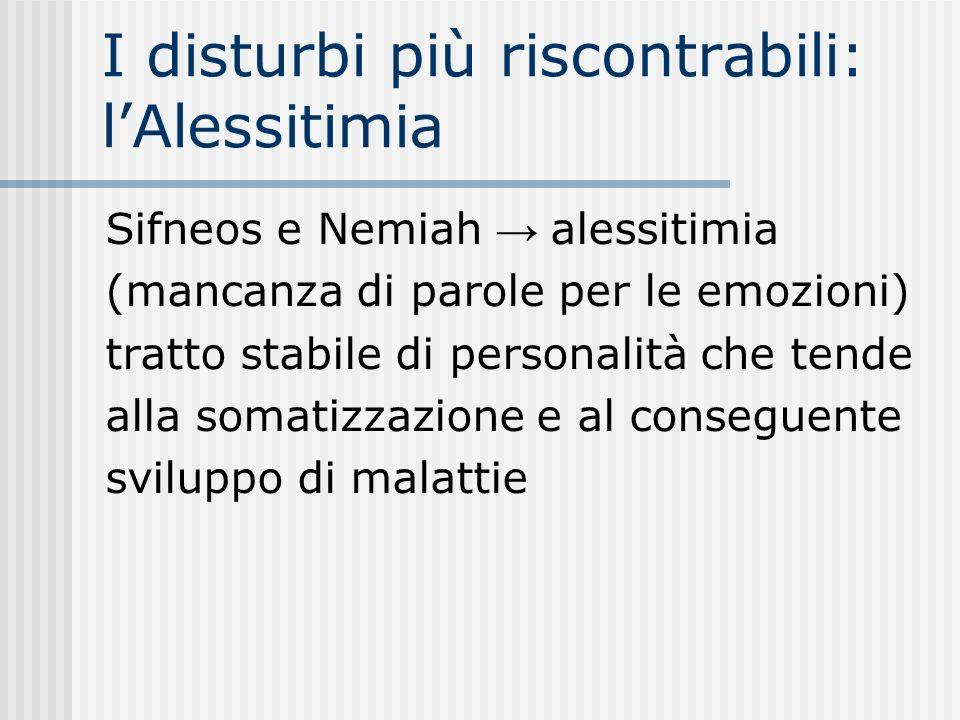I disturbi più riscontrabili: lAlessitimia Sifneos e Nemiah alessitimia (mancanza di parole per le emozioni) tratto stabile di personalità che tende a