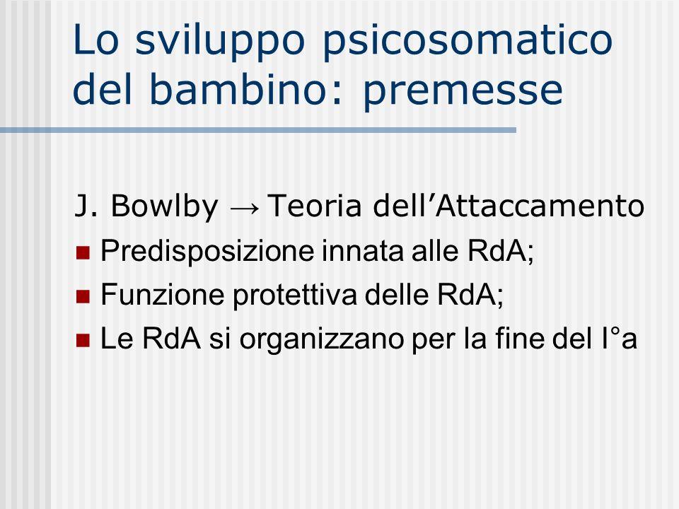 Lo sviluppo psicosomatico del bambino: premesse J. Bowlby Teoria dellAttaccamento Predisposizione innata alle RdA; Funzione protettiva delle RdA; Le R