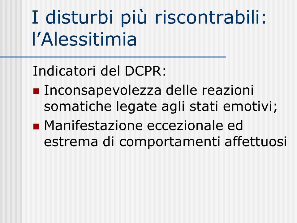 I disturbi più riscontrabili: lAlessitimia Indicatori del DCPR: Inconsapevolezza delle reazioni somatiche legate agli stati emotivi; Manifestazione ec