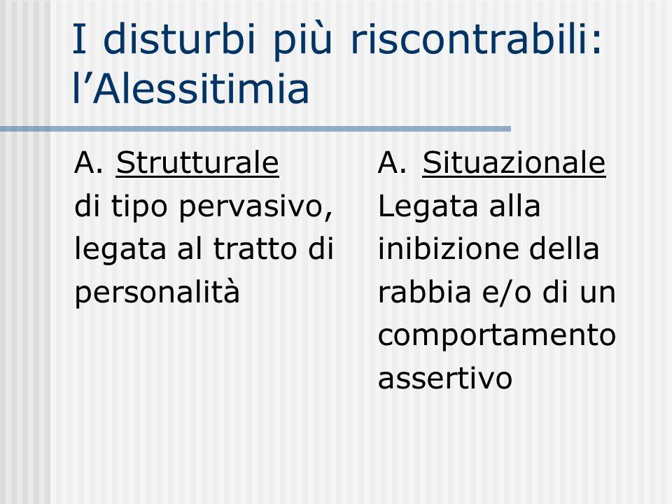 I disturbi più riscontrabili: lAlessitimia Strutturale A. Strutturale di tipo pervasivo, legata al tratto di personalità A.Situazionale Legata alla in