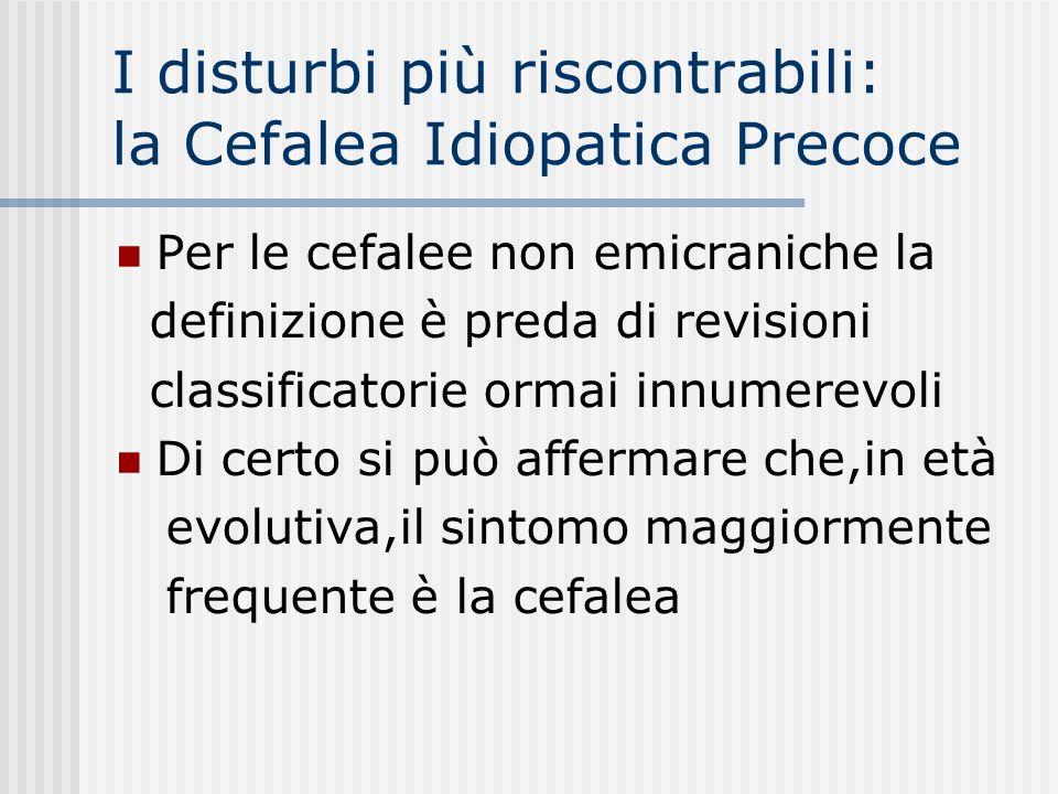 I disturbi più riscontrabili: la Cefalea Idiopatica Precoce Per le cefalee non emicraniche la definizione è preda di revisioni classificatorie ormai i