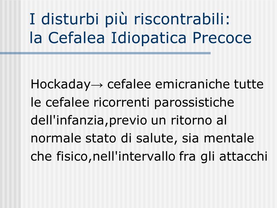 I disturbi più riscontrabili: la Cefalea Idiopatica Precoce Hockaday cefalee emicraniche tutte le cefalee ricorrenti parossistiche dell'infanzia,previ