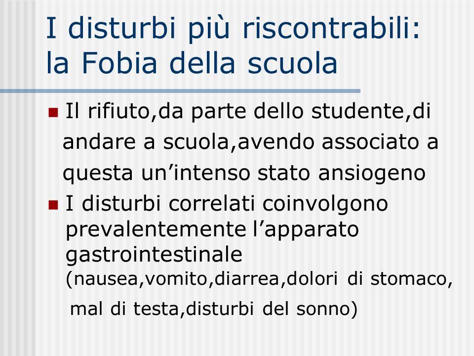 I disturbi più riscontrabili: la Fobia della scuola Il rifiuto,da parte dello studente,di andare a scuola,avendo associato a questa unintenso stato an