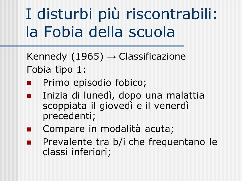 I disturbi più riscontrabili: la Fobia della scuola Kennedy (1965) Classificazione Fobia tipo 1: Primo episodio fobico; Inizia di lunedì, dopo una mal