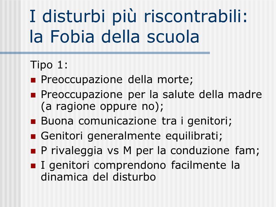 I disturbi più riscontrabili: la Fobia della scuola Tipo 1: Preoccupazione della morte; Preoccupazione per la salute della madre (a ragione oppure no)