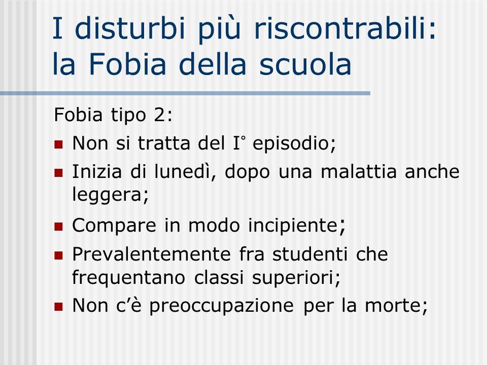I disturbi più riscontrabili: la Fobia della scuola Fobia tipo 2: Non si tratta del I° episodio; Inizia di lunedì, dopo una malattia anche leggera; Co