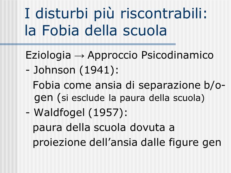 I disturbi più riscontrabili: la Fobia della scuola Eziologia Approccio Psicodinamico - Johnson (1941): Fobia come ansia di separazione b/o- gen ( si