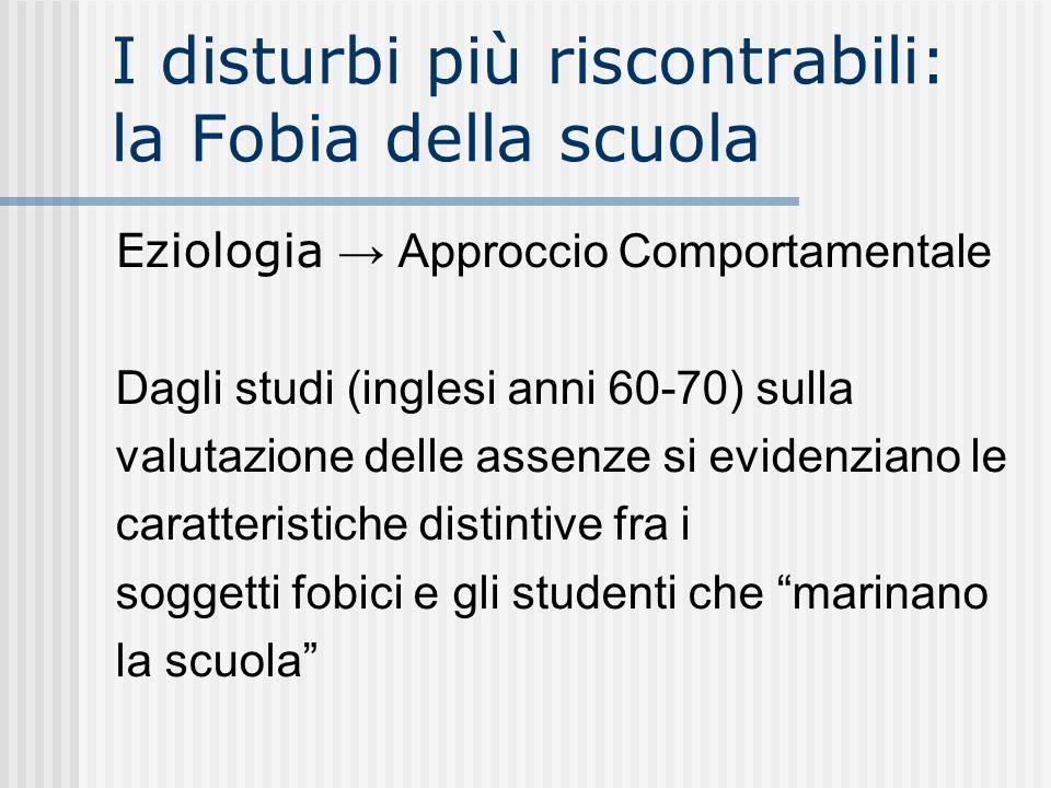 I disturbi più riscontrabili: la Fobia della scuola Eziologia Approccio Comportamentale Dagli studi (inglesi anni 60-70) sulla valutazione delle assen