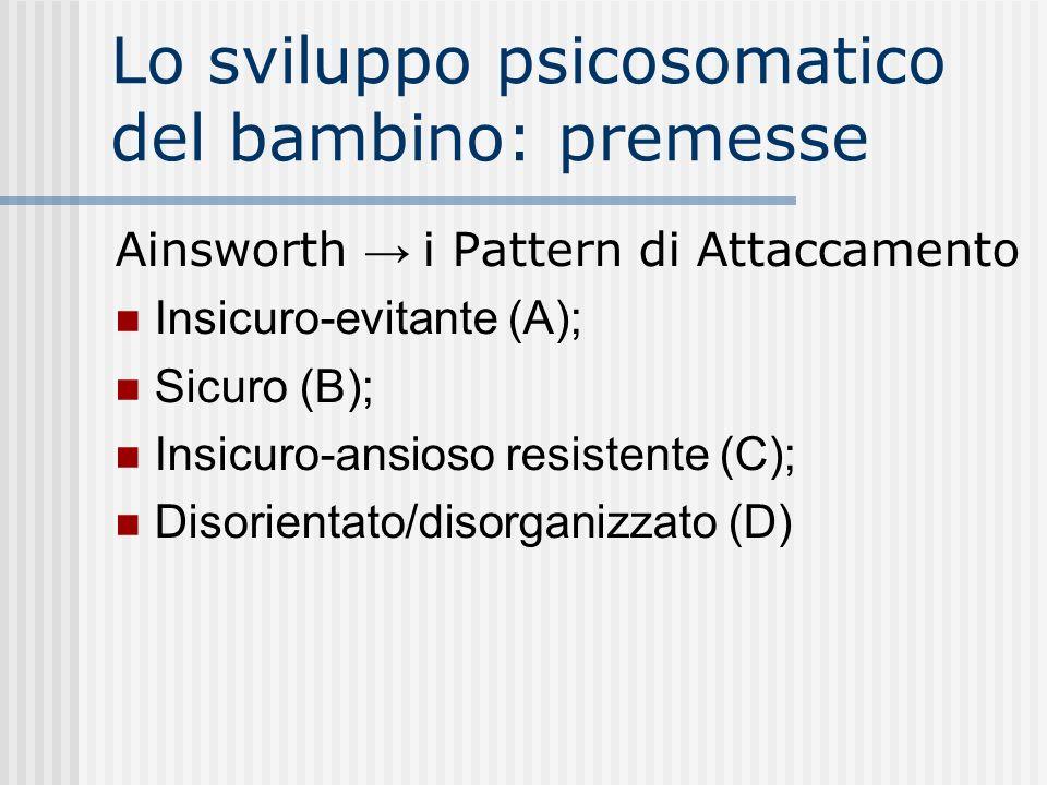 Lo sviluppo psicosomatico del bambino: premesse Ainsworth i Pattern di Attaccamento Insicuro-evitante (A); Sicuro (B); Insicuro-ansioso resistente (C)