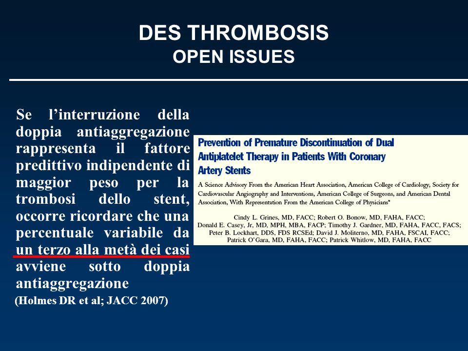 DES THROMBOSIS OPEN ISSUES Se linterruzione della doppia antiaggregazione rappresenta il fattore predittivo indipendente di maggior peso per la trombo