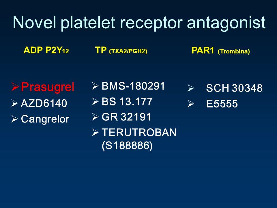 Novel platelet receptor antagonist Prasugrel AZD6140 Cangrelor ADP P2Y 12 BMS-180291 BS 13.177 GR 32191 TERUTROBAN (S188886) TP (TXA2/PGH2) SCH 30348
