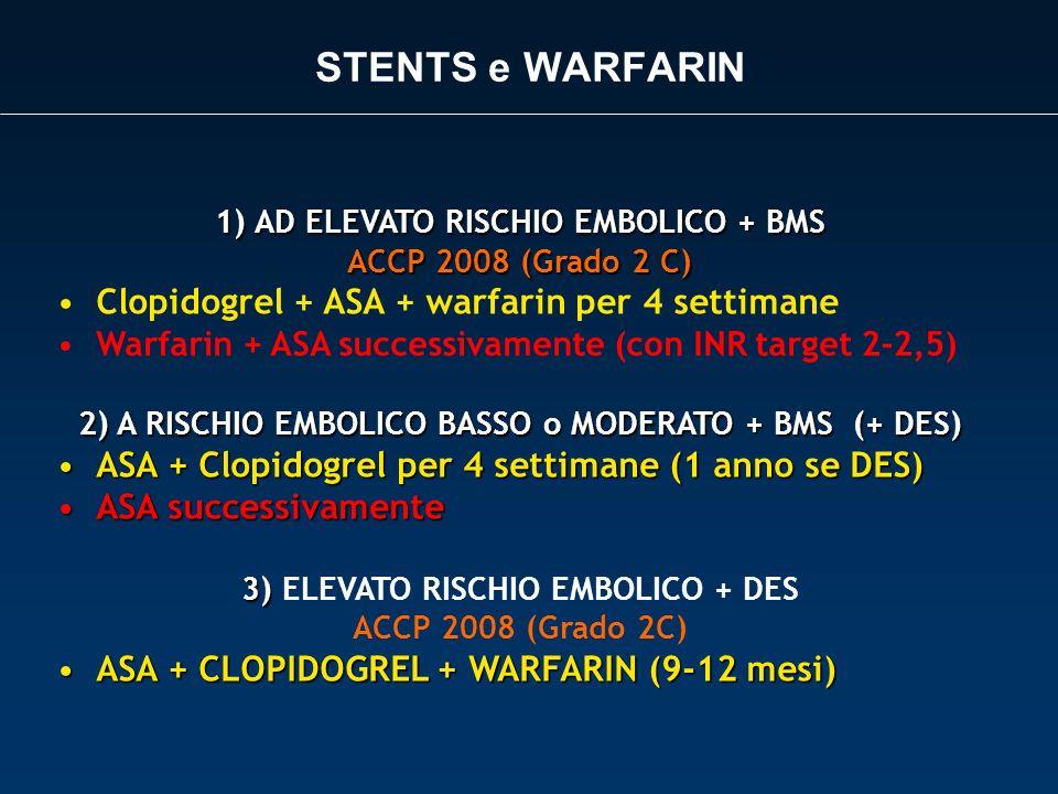 STENTS e WARFARIN 1)AD ELEVATO RISCHIO EMBOLICO + BMS ACCP 2008 (Grado 2 C) Clopidogrel + ASA + warfarin per 4 settimane Warfarin + ASA successivament