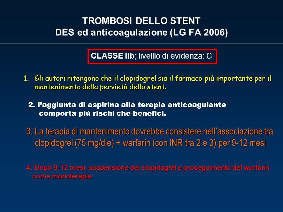 TROMBOSI DELLO STENT DES ed anticoagulazione (LG FA 2006) 1.Gli autori ritengono che il clopidogrel sia il farmaco più importante per il mantenimento
