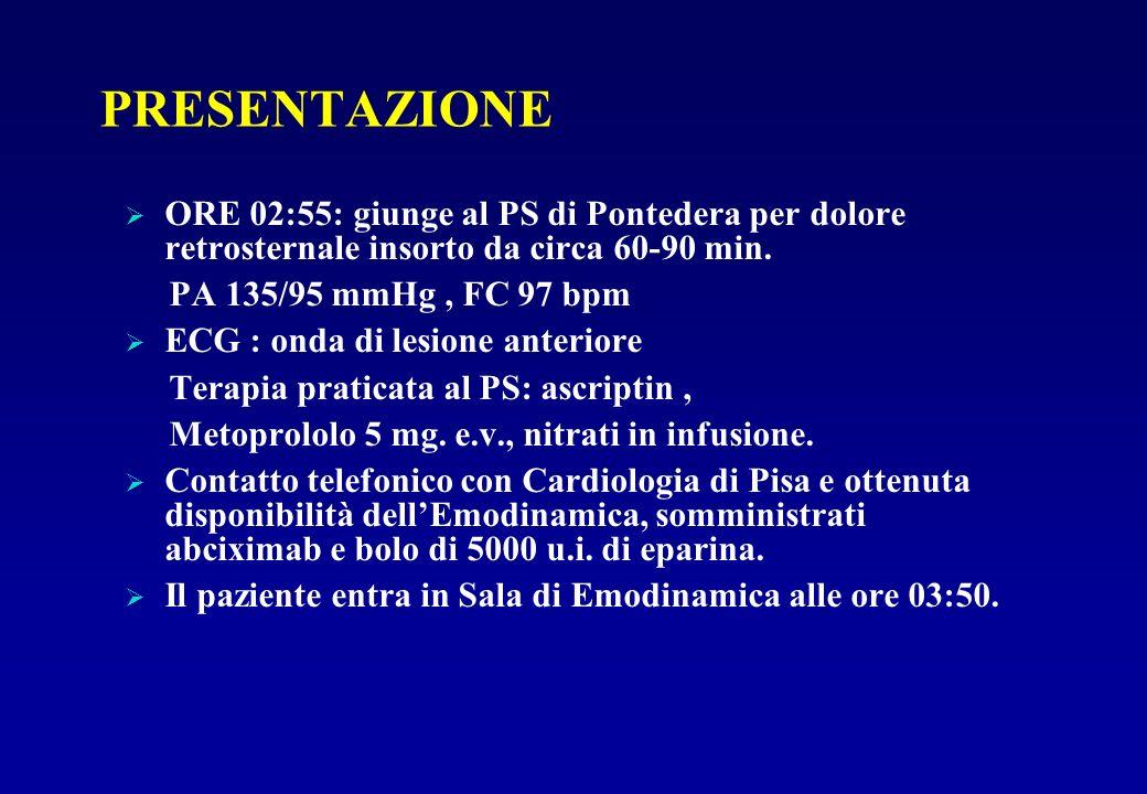 PRESENTAZIONE ORE 02:55: giunge al PS di Pontedera per dolore retrosternale insorto da circa 60-90 min. PA 135/95 mmHg, FC 97 bpm ECG : onda di lesion