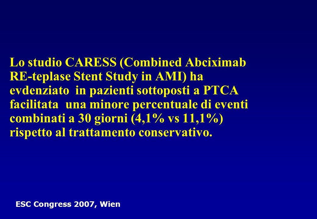 Lo studio CARESS (Combined Abciximab RE-teplase Stent Study in AMI) ha evdenziato in pazienti sottoposti a PTCA facilitata una minore percentuale di e