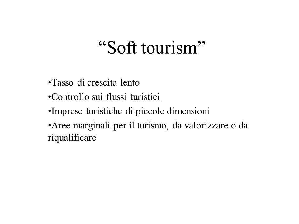 Soft tourism Tasso di crescita lento Controllo sui flussi turistici Imprese turistiche di piccole dimensioni Aree marginali per il turismo, da valoriz