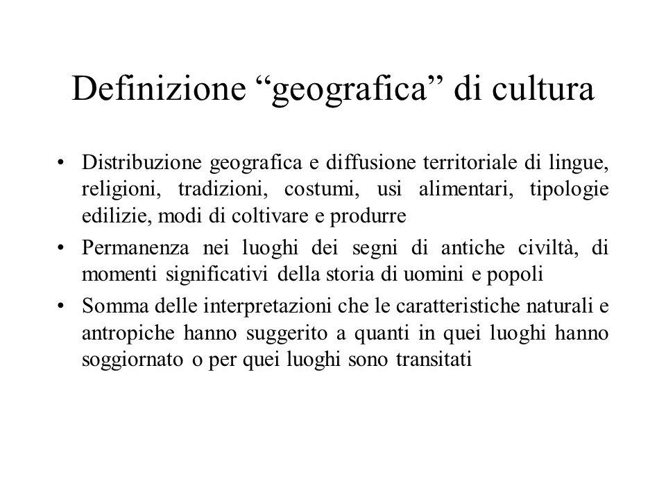 Definizione geografica di cultura Distribuzione geografica e diffusione territoriale di lingue, religioni, tradizioni, costumi, usi alimentari, tipolo