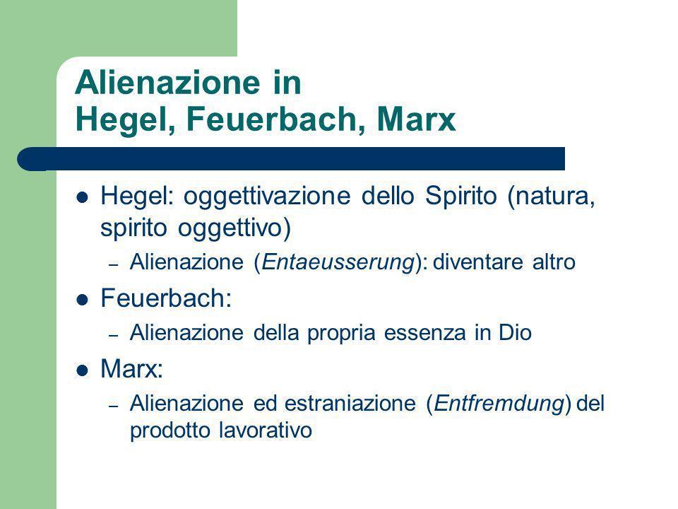 Alienazione in Hegel, Feuerbach, Marx Hegel: oggettivazione dello Spirito (natura, spirito oggettivo) – Alienazione (Entaeusserung): diventare altro Feuerbach: – Alienazione della propria essenza in Dio Marx: – Alienazione ed estraniazione (Entfremdung) del prodotto lavorativo
