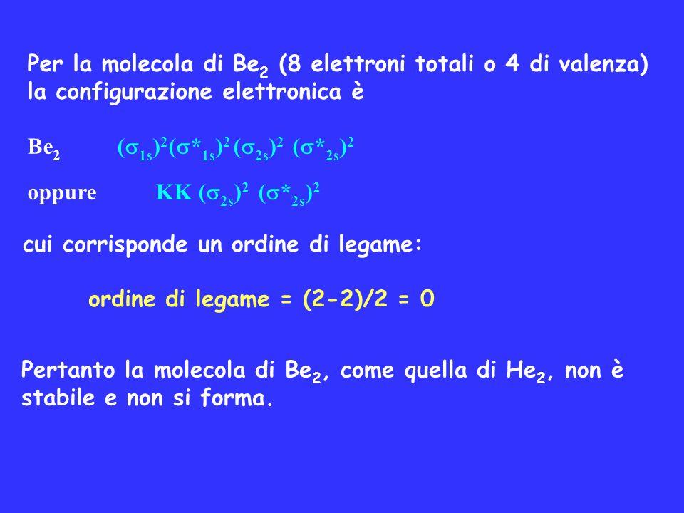 cui corrisponde un ordine di legame: ordine di legame = (2-2)/2 = 0 Pertanto la molecola di Be 2, come quella di He 2, non è stabile e non si forma. P