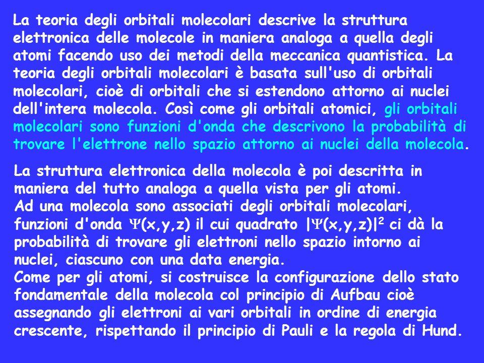La struttura elettronica della molecola è poi descritta in maniera del tutto analoga a quella vista per gli atomi. Ad una molecola sono associati degl