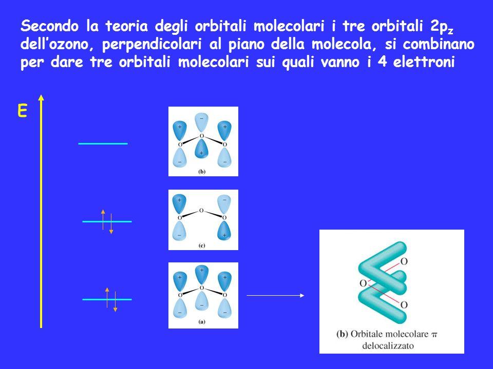 Secondo la teoria degli orbitali molecolari i tre orbitali 2p z dellozono, perpendicolari al piano della molecola, si combinano per dare tre orbitali