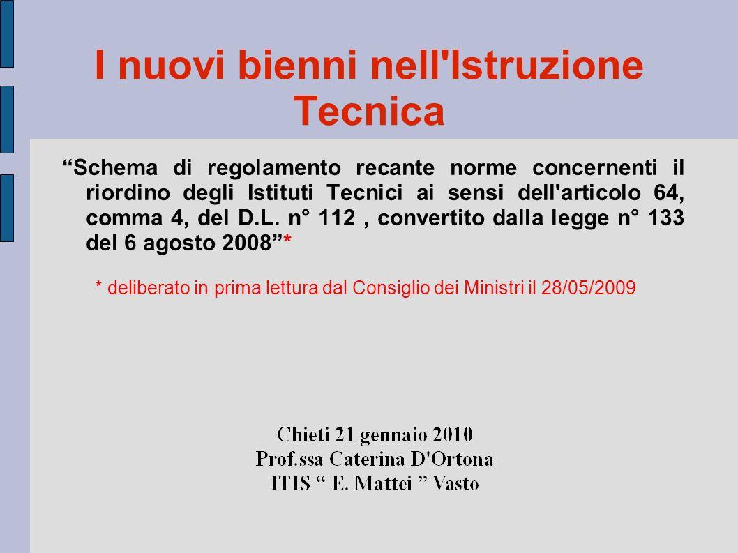 I nuovi bienni nell Istruzione Tecnica Schema di regolamento recante norme concernenti il riordino degli Istituti Tecnici ai sensi dell articolo 64, comma 4, del D.L.