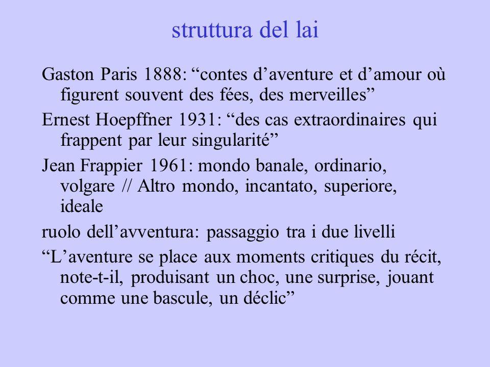 la tecnica dei lais titolo 7 casi nome del protagonista uomo, 1 donna Chaitivel (nomignolo), Deux Amants, Laostic, Chèvrefeuille nomi concorrenti, es.