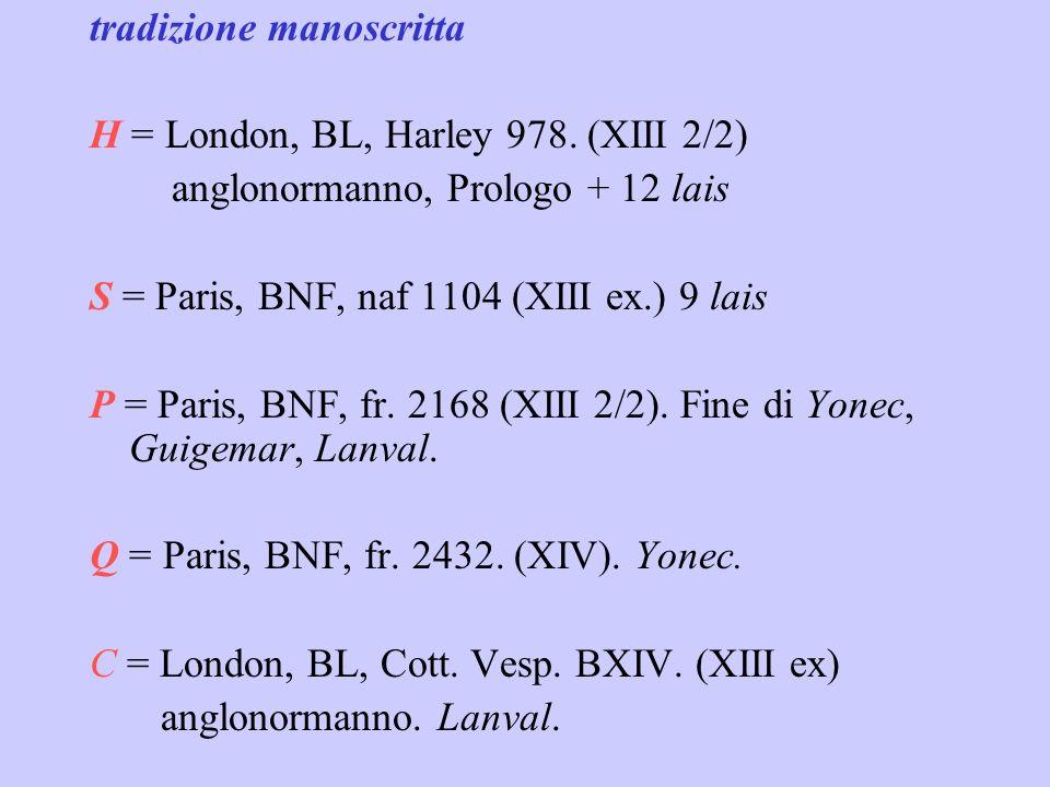 storia editoriale Karl Warnke, Die Lais der Marie de France, Halle 1885 (in Bibl. Normannica n.3), 2a ed. 1900, 3a ed. 1925. (ms. H) Ernest Hoepffner,