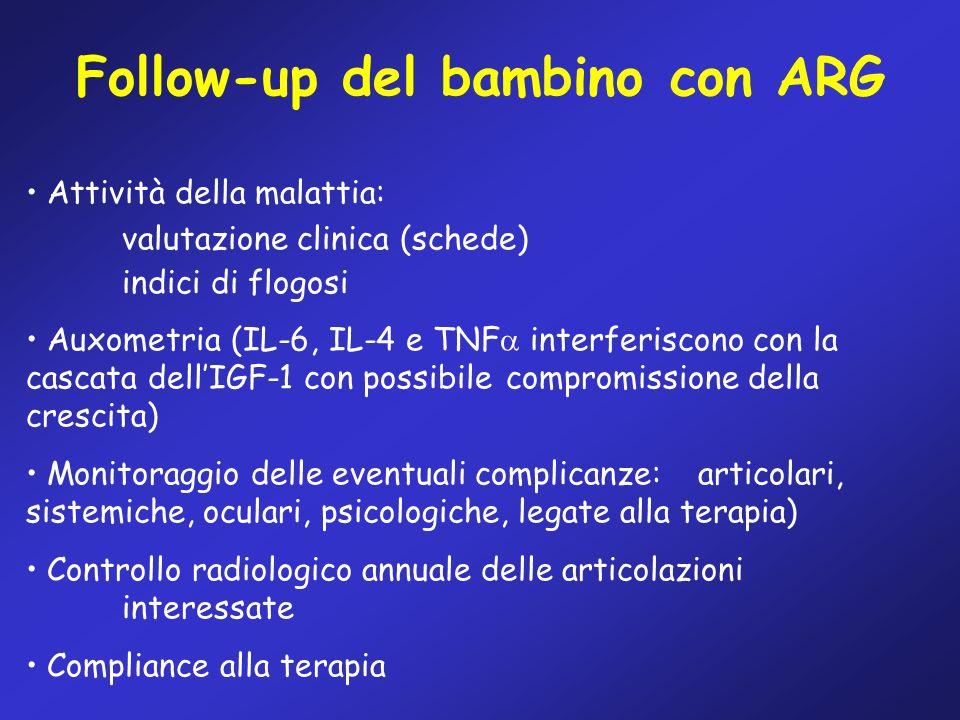 Follow-up del bambino con ARG Attività della malattia: valutazione clinica (schede) indici di flogosi Auxometria (IL-6, IL-4 e TNF interferiscono con
