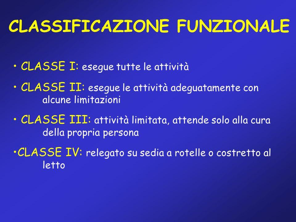 CLASSIFICAZIONE FUNZIONALE CLASSE I: esegue tutte le attività CLASSE II: esegue le attività adeguatamente con alcune limitazioni CLASSE III: attività